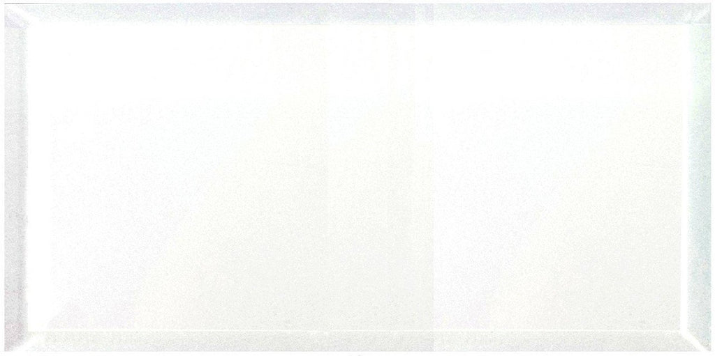"Frosted Glass 8x16"" Beveled Field Tile in White - Glossy or Matte Finish - TileBuys"