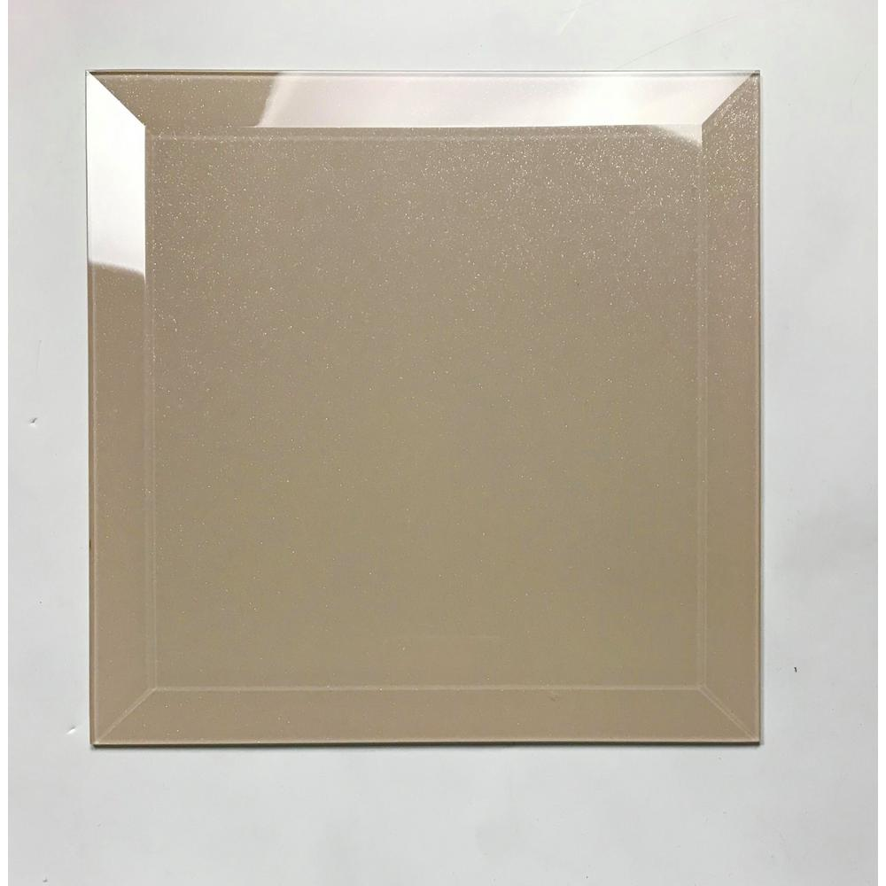 "Frosted Glass 8x8"" Beveled Field Tile in Glossy Light Beige - TileBuys"