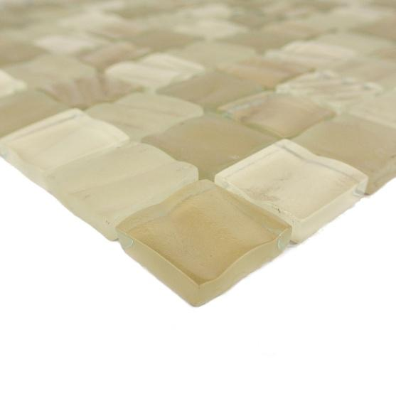 "Glossy Beige Glass 1x1"" Squares Mosaic Tile in Rolling Wheat - TileBuys"