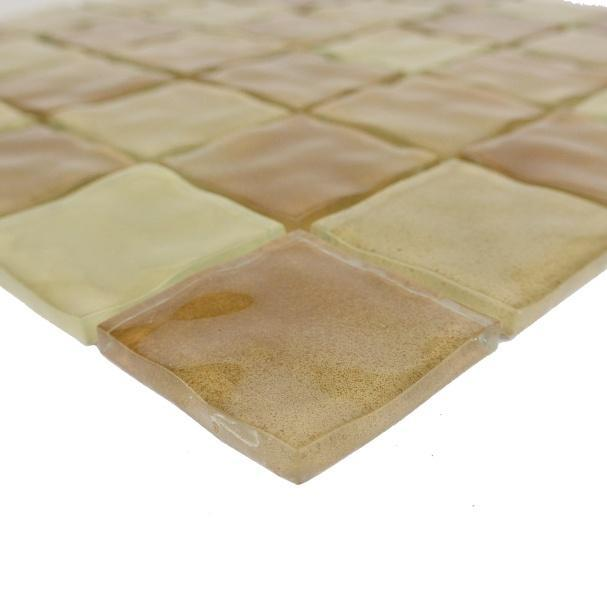 "Glossy Brown Pool Rated Glass Mosaic Wall Tile in 2x2"" Squares - TileBuys"