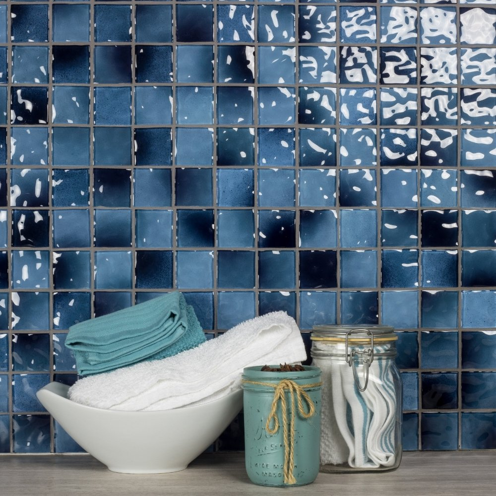 "Glossy Caribbean Blue Pool Rated Glass Mosaic Wall Tile in 2x2"" Squares - TileBuys"