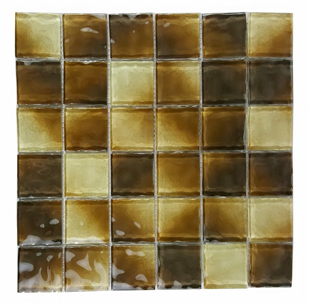 "Glossy Dark Brown Pool Rated Glass Mosaic Wall Tile in 2x2"" Squares - TileBuys"