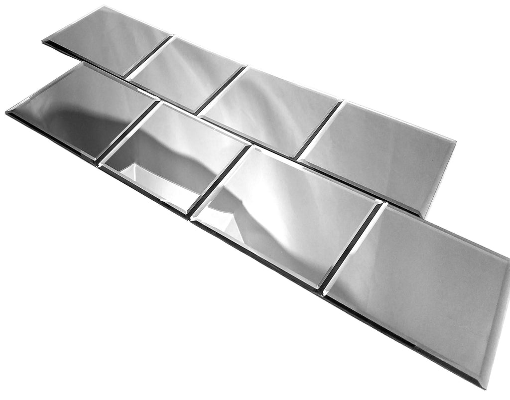 "Glossy Silver Mirror 8x8"" Field Tile - TileBuys"