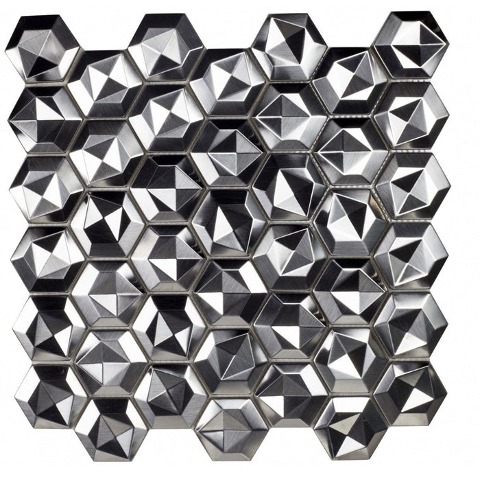 Glossy Silver Stainless Steel Hexagon Mosaic 3D Tile Backsplash - TileBuys