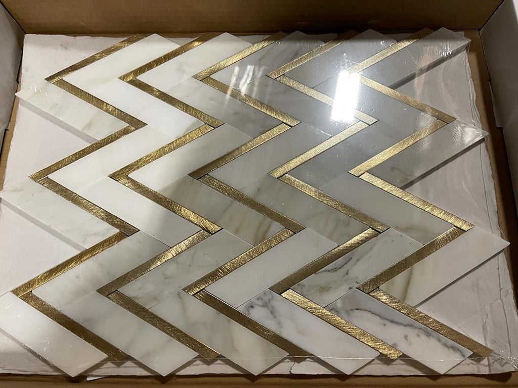 Calacatta (Calcutta) Gold Marble with Gold Metal Waterjet Mosaic Tile in Golden Chevron