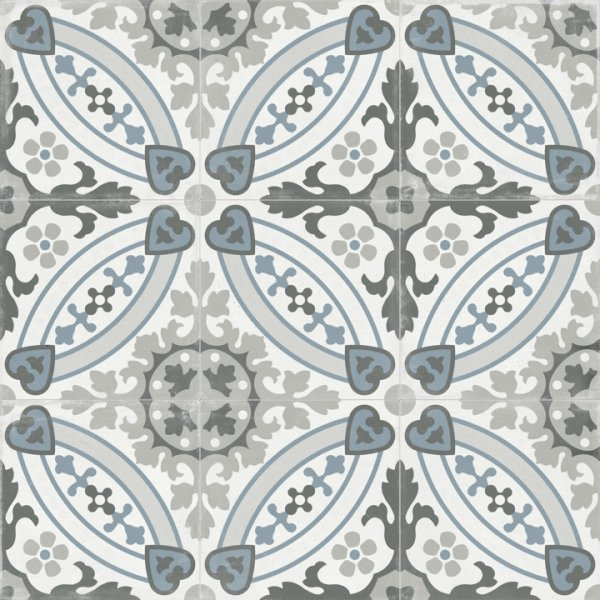 Gray & Blue Victorian Patterned Porcelain Tile in Floral Hearts - TileBuys