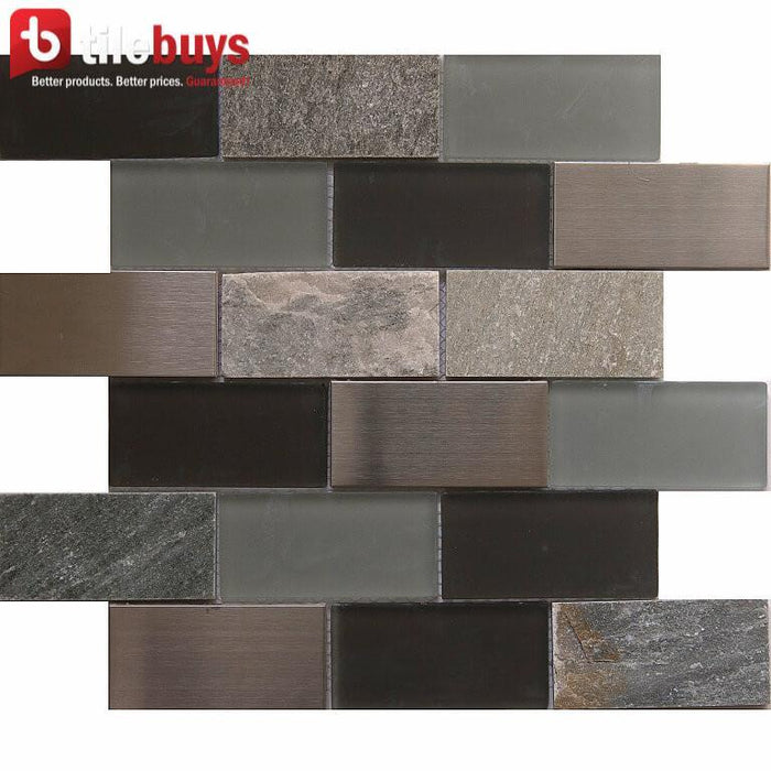 "Gray & Brown Glass, Stone and Metal 2""x4"" Brick Mosaic Tile - TileBuys"