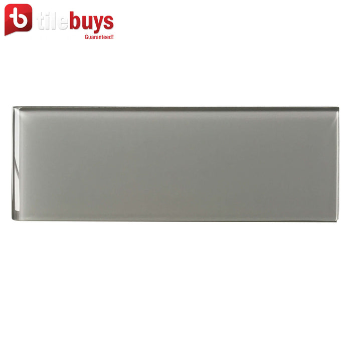 "Gray Glass 4x12"" Subway Tile in Ash - TileBuys"