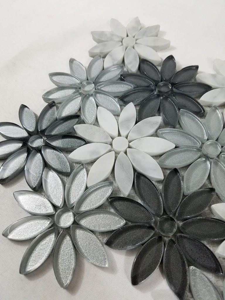 Gray Glass & White Natural Stone Mosaic Daisy Flower Tile - TileBuys