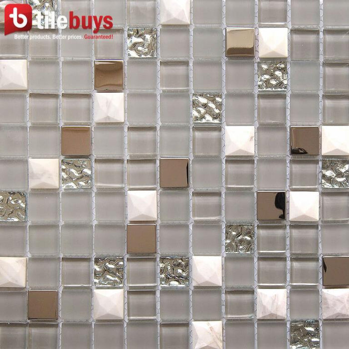 "Gray & White Stone, Clear Textured Glass, Bronze Metal 1x1"" Square Mosaic Wall Tile - TileBuys"