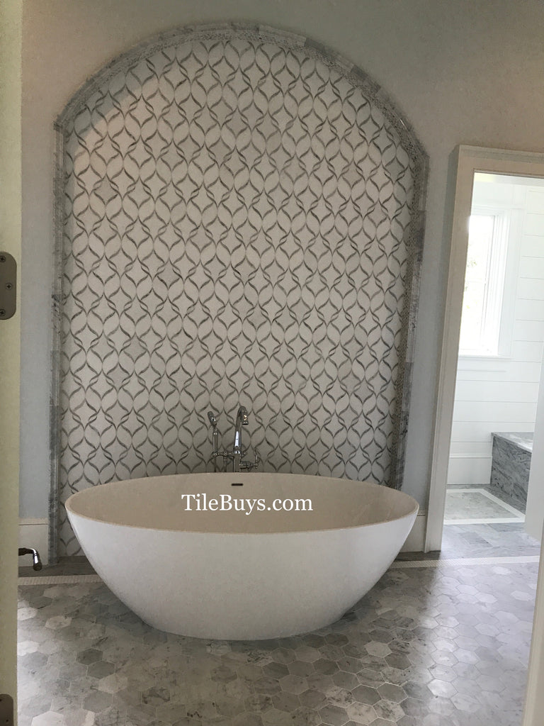 White Thassos and Bianco Carrara Marble Waterjet Mosaic Tile in Ballet Ribbon - Tile Buys