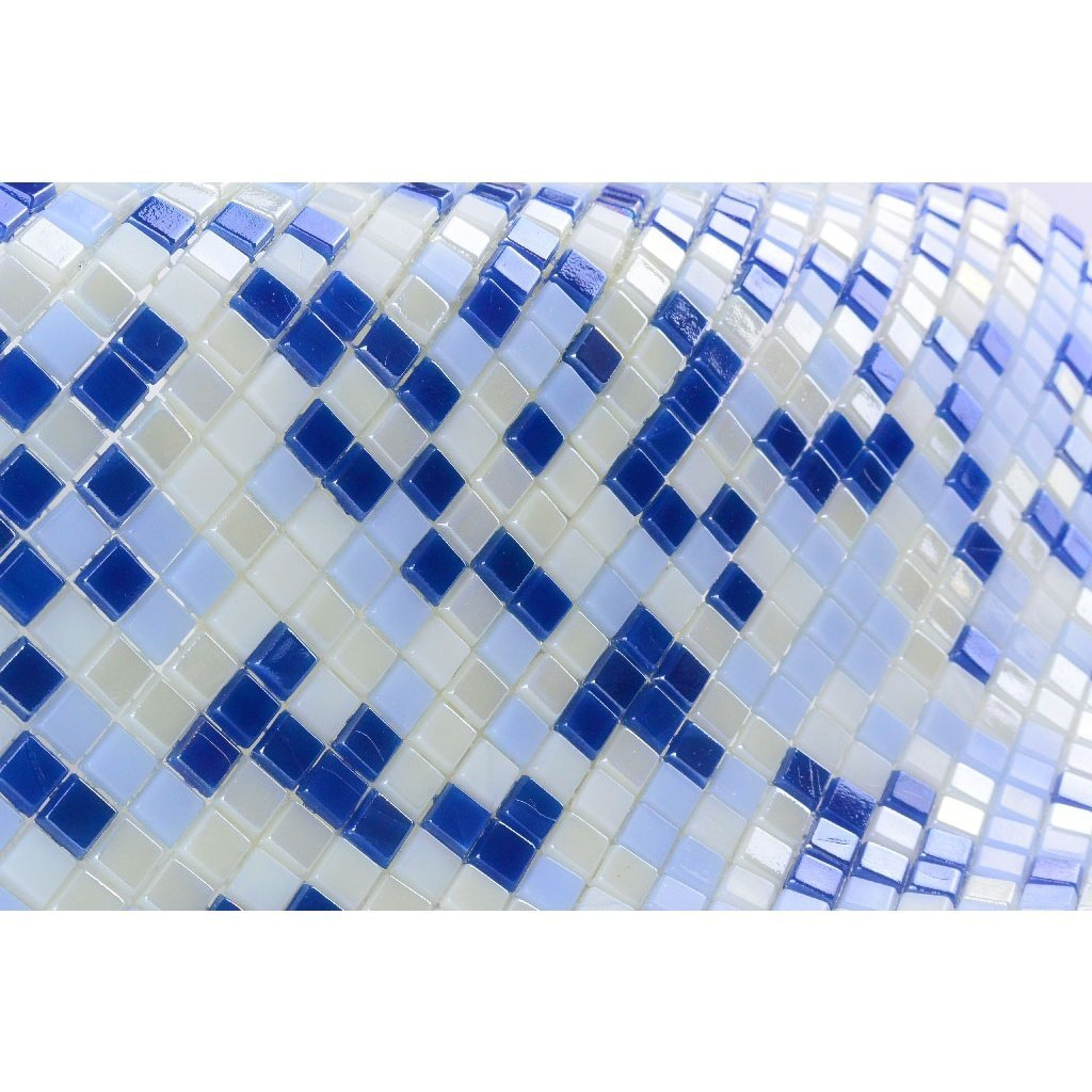 Iridescent Glass Mosaic Tile - Multi-Color Blue & Off-White Squares - TileBuys