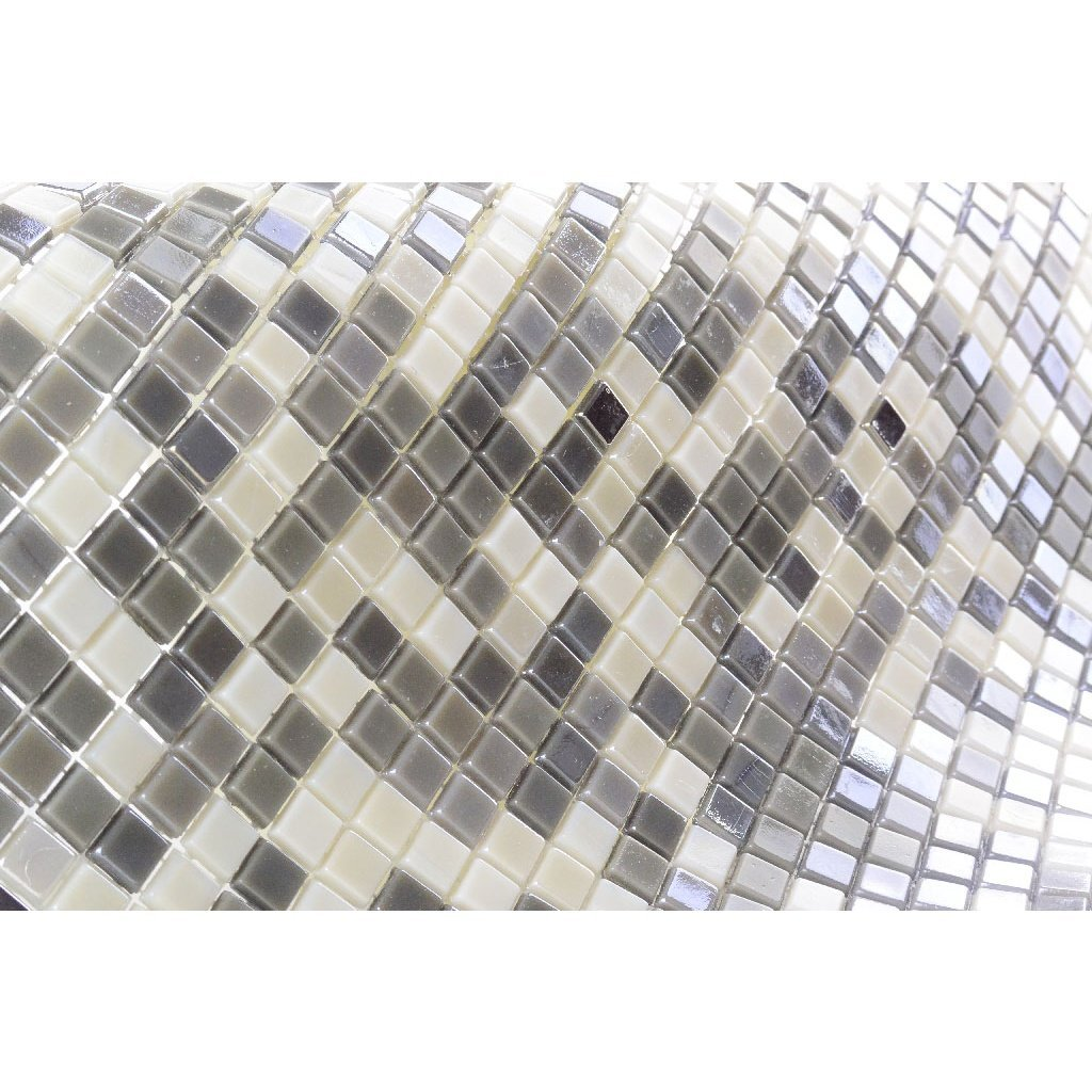 Iridescent Glass Mosaic Tile - Multi-Color Gray & Off-White Squares - TileBuys