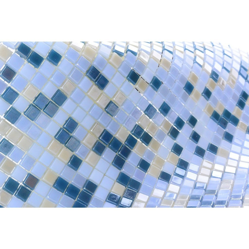 Iridescent Glass Mosaic Tile - Small Squares Pattern - Multi-Color Blue & Light Gray - TileBuys