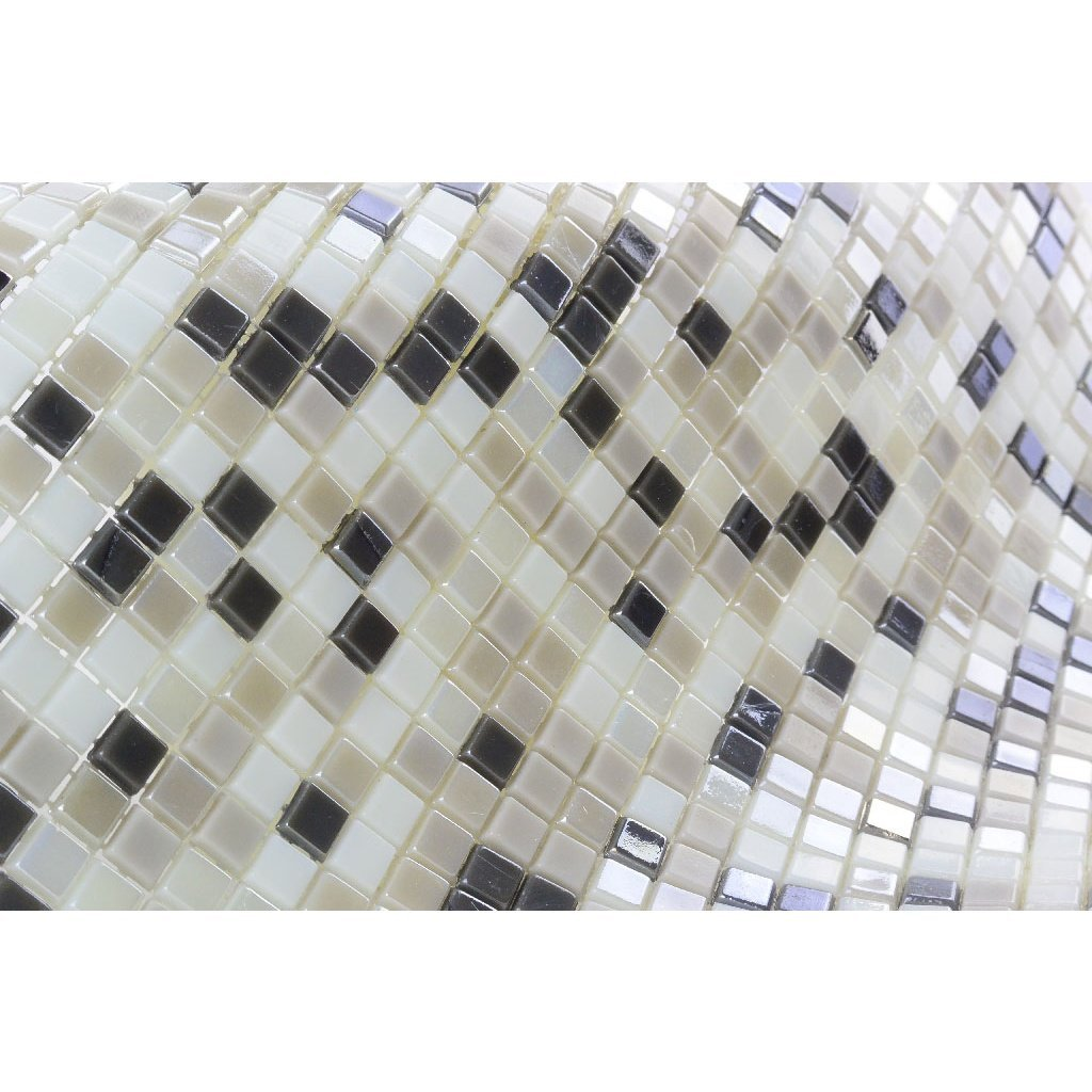Iridescent Glass Mosaic Tile - Small Squares Pattern - Multi-Color Gray, Off-White & Beige - TileBuys