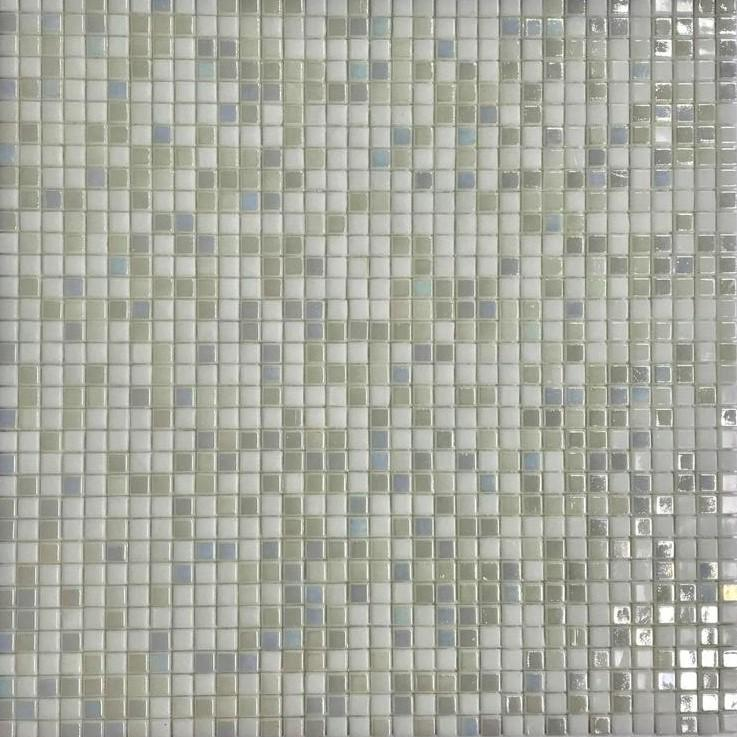 Iridescent Light Gray & Off-White Glass Mosaic Tile - Small Squares Pattern - TileBuys