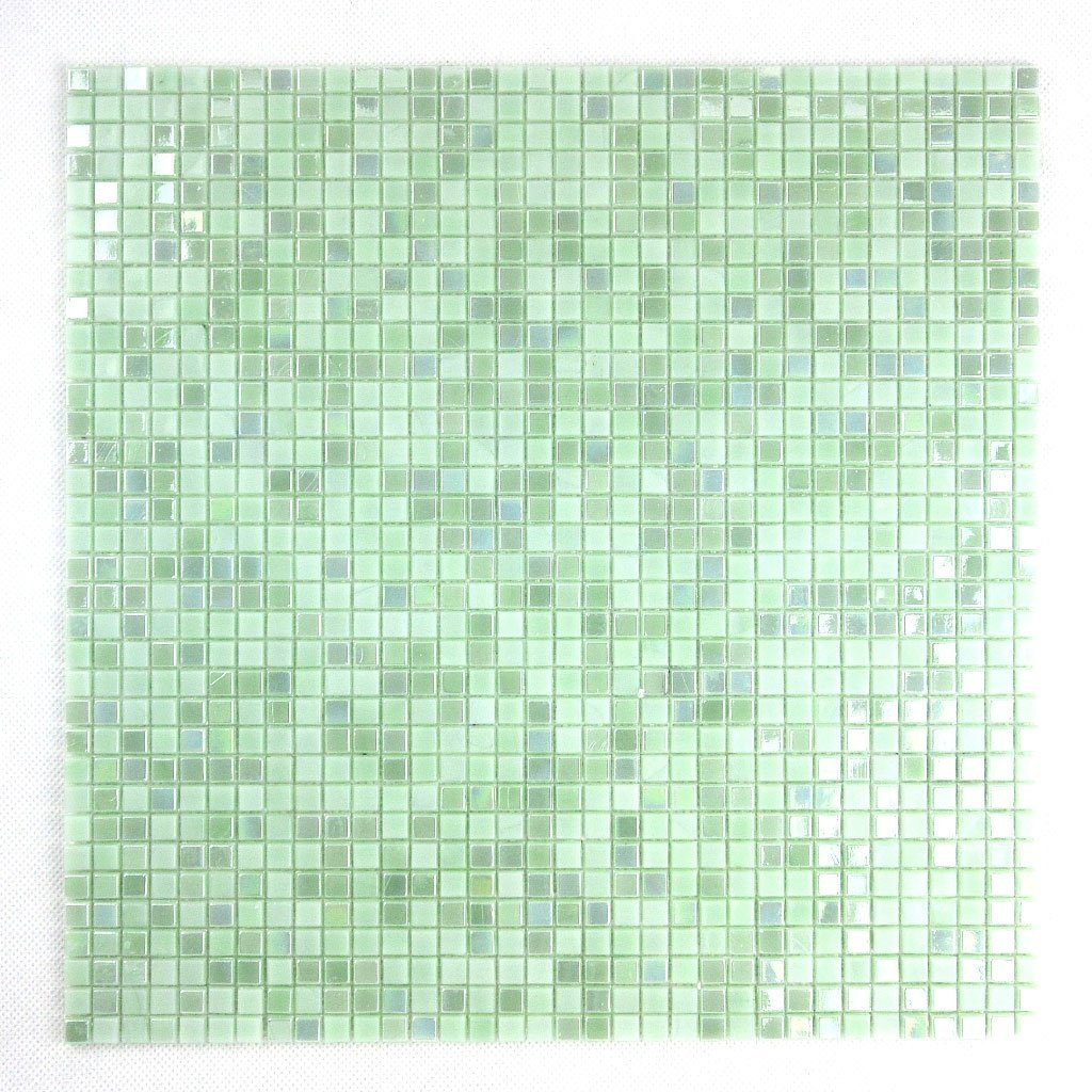 Iridescent Mint Green Glass Mosaic Tile - Small Squares Pattern - TileBuys