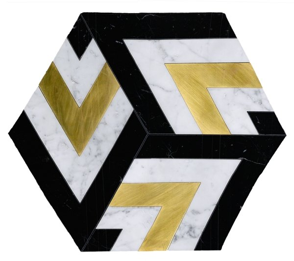 Large Patterned Hexagon Waterjet Mosaic Tile in Calacatta Gold, Black Marble, Brushed Gold Metal - TileBuys
