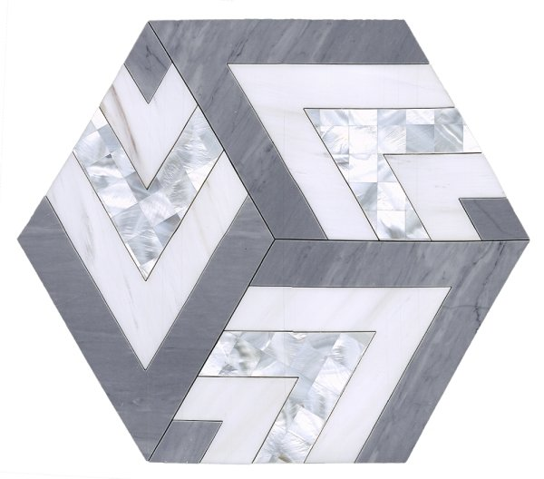 Large Patterned Hexagon Waterjet Mosaic Tile in Dolomite White, Latin Gray Marble, Mother of Pearl - TileBuys