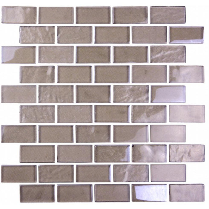 "Light Brown Textured Glass 1x2"" Mini Brick Mosaic Wall and Floor Tile - TileBuys"