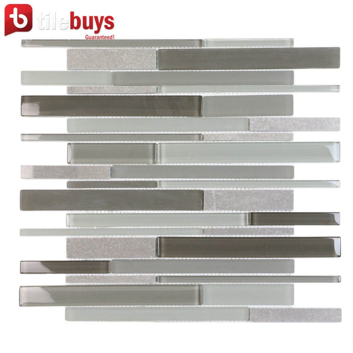 Light & Dark Gray Marble & Glass Linear Strip Mosaic Wall Tile - TileBuys