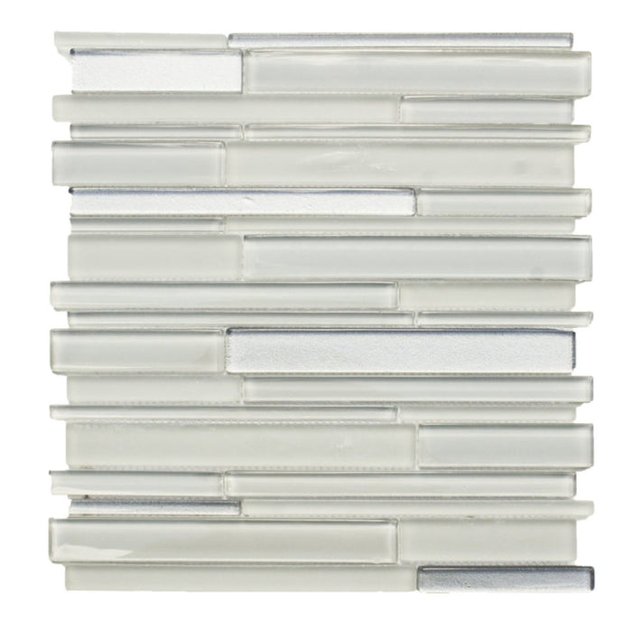 Light Gray Artisan Glass Simple Strip Mosaic Tile in Denver - TileBuys