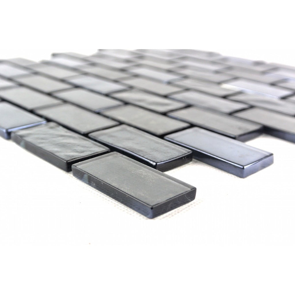 "Light Gray Textured Glass 1x2"" Mini Brick Mosaic Wall and Floor Tile - TileBuys"