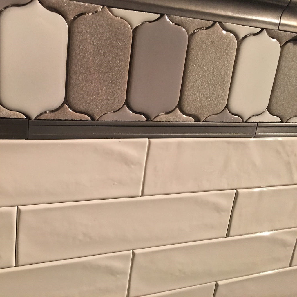 "Glossy Ceramic 3""x12"" Subway Tile in Textured White or Light Beige"