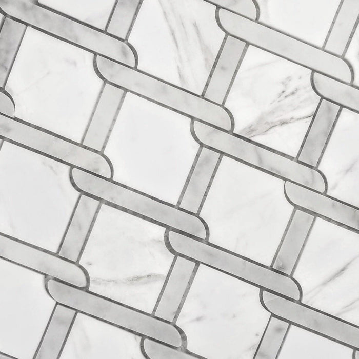 Luxe Diamond Trellis Carrara White Marble Semi-Gloss Waterjet Mosaic Tile - TileBuys