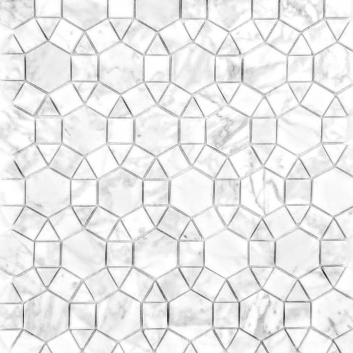 Luxe Ring Carrara White Marble Waterjet Mosaic Tile - Semi-Gloss - TileBuys