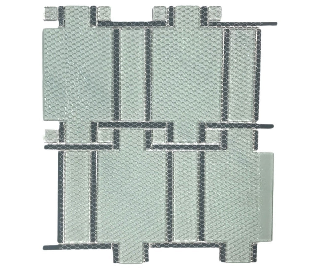 Luxe Textured Glass and Mirror Glass Mosaic Wall Tile in Interlocking Rectangles - TileBuys