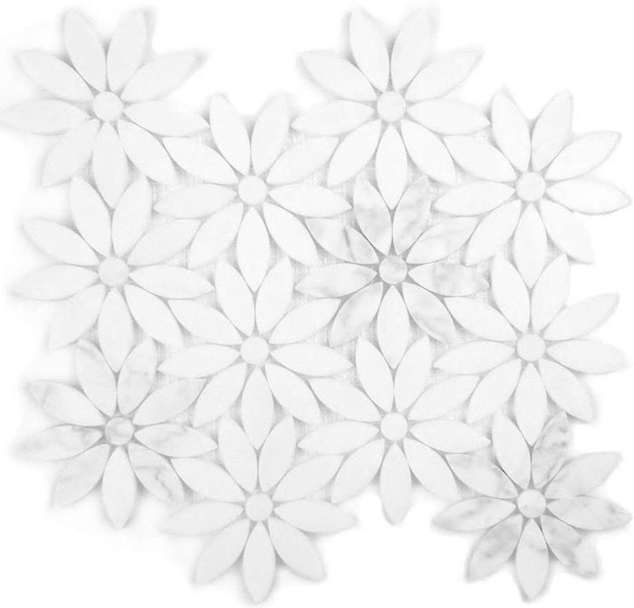 Luxe Tuscany Flower Marble Waterjet Mosaic Tile - Carrara White or Royal Beige - TileBuys