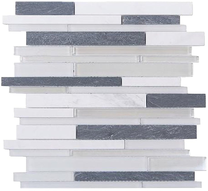 Marble, Slate & Glass Random Linear Strip Mosaic Tile - TileBuys