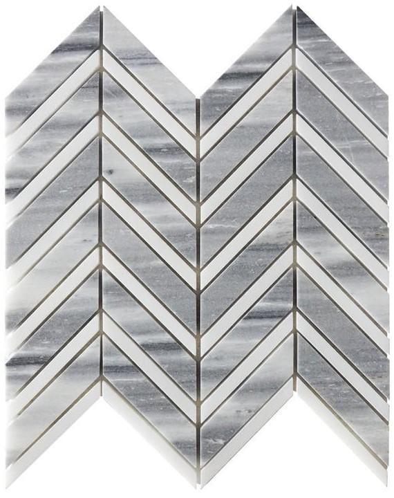 Marmara Gray & White Marble Mosaic Tile - Chevron - Polished - TileBuys