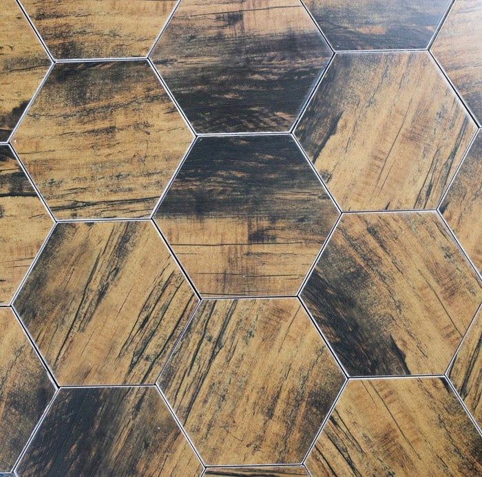 "Matte Brown Ceramic 8""x8"" Hexagon Tile in Artisan Birchwood - TileBuys"