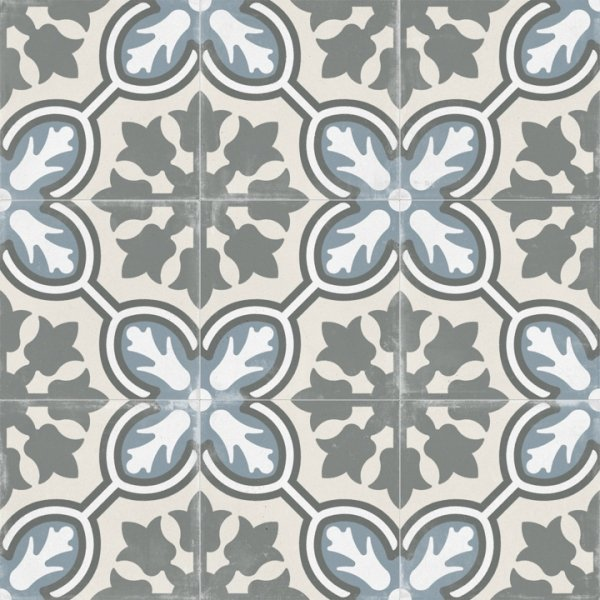 Matte Gray and Blue Tulip Pattern Porcelain Victorian Tile - TileBuys