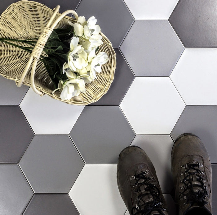 "Matte Gray Ceramic 7""x7"" Hexagon Tile - TileBuys"
