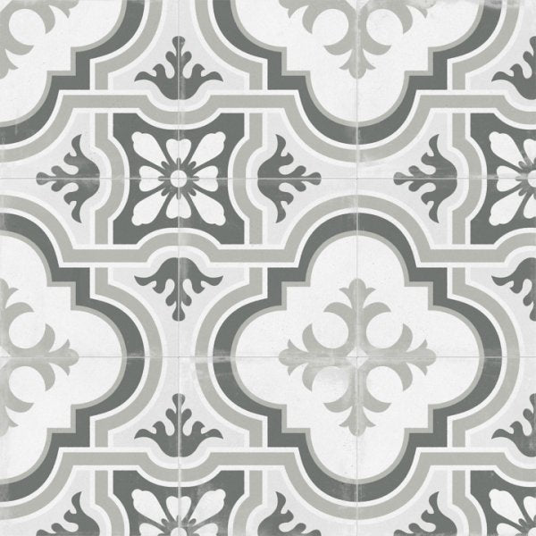 Matte Gray Victorian Patterned Porcelain Tile - TileBuys