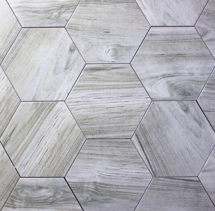 "Matte Smoky Gray Ceramic 8""x8"" Hexagon Tile - TileBuys"