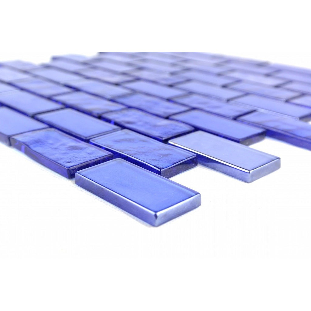 "Mediterranean Blue Textured Glass 1x2"" Mini Brick Mosaic Wall and Floor Tile - TileBuys"