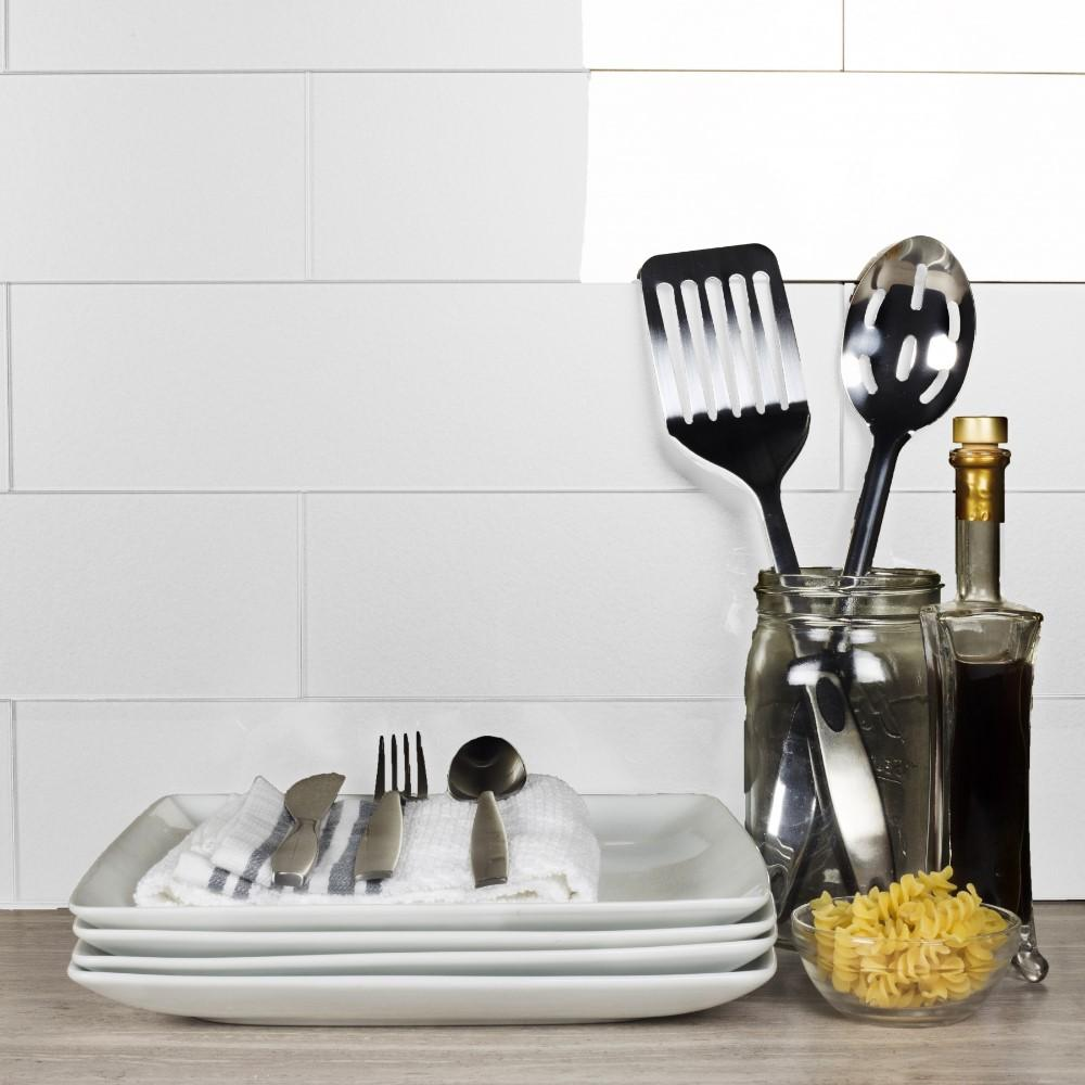 "Metallic White 4x16"" Glass Subway Tile - TileBuys"