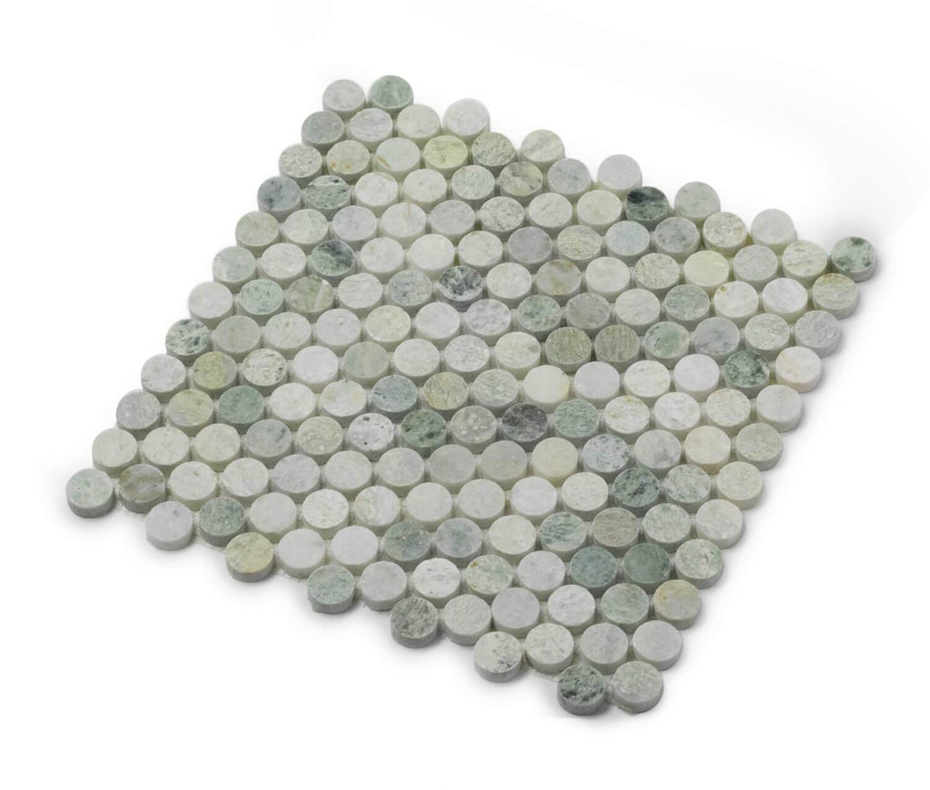 "Ming Green Marble Mosaic Tile in 1"" Penny Rounds - Polished - TileBuys"