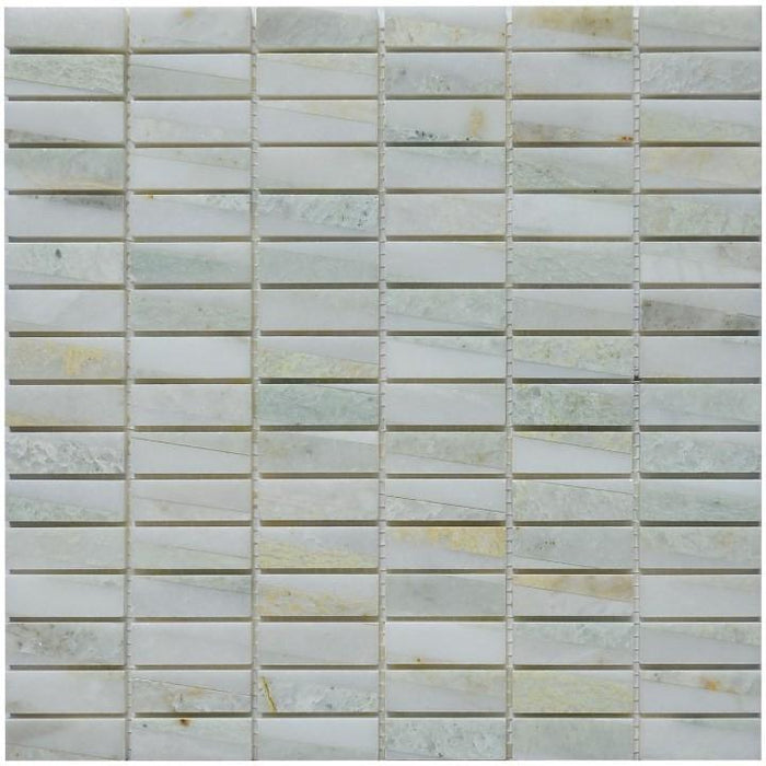 "Ming Green Marble Mosaic Tile in 5/8""x2"" Mini Bricks - Polished - TileBuys"