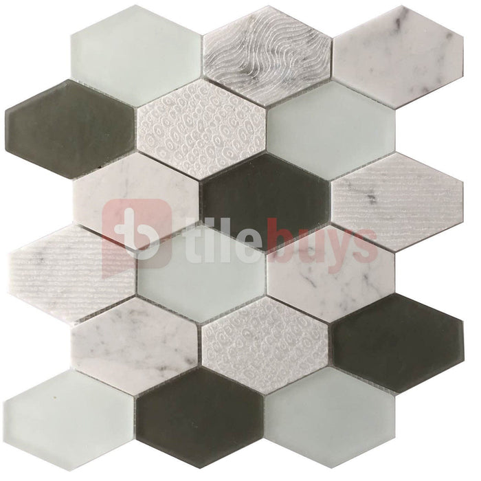 Natural Stone & Glass Mosaic Wall Tile in Panache Retro Hexagon - TileBuys