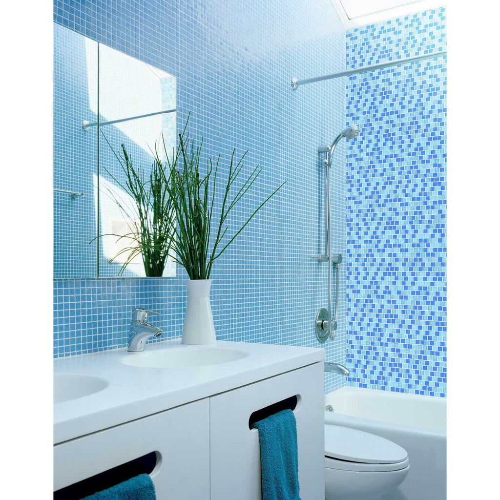 "Ocean & Aqua Blue Glass 1x1"" Squares Mosaic Wall and Floor Tile - TileBuys"