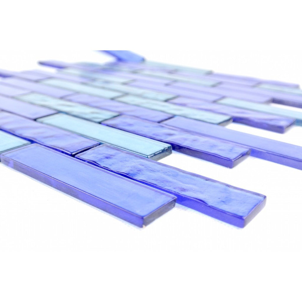 "Ocean & Aqua Blue Textured Glass 1x4"" Linear Strip Mosaic Wall and Floor Tile - TileBuys"