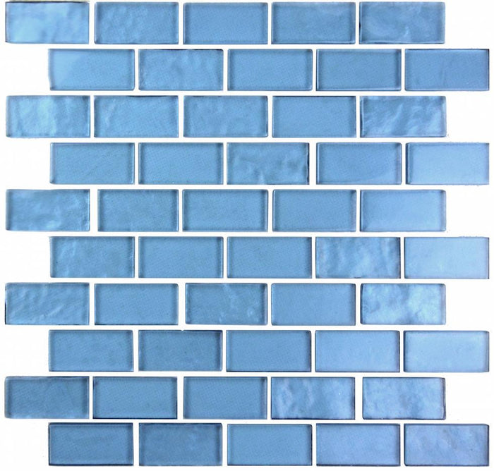"Ocean Blue Textured Glass 1x2"" Mini Brick Mosaic Wall and Floor Tile - TileBuys"
