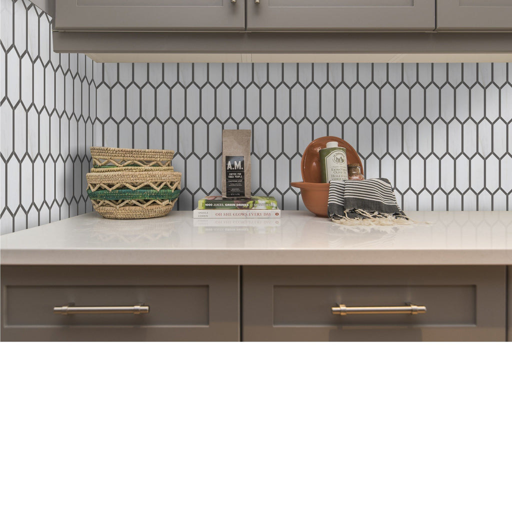 Outlined Elongated Hexagons Marble Mosaic Tile in 3 Color Combinations - TileBuys