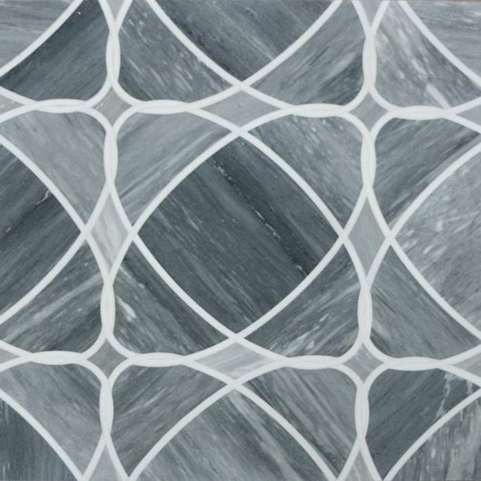 Palissandro Blue and White Thassos Marble Waterjet Mosaic Tile in Neptune - TileBuys