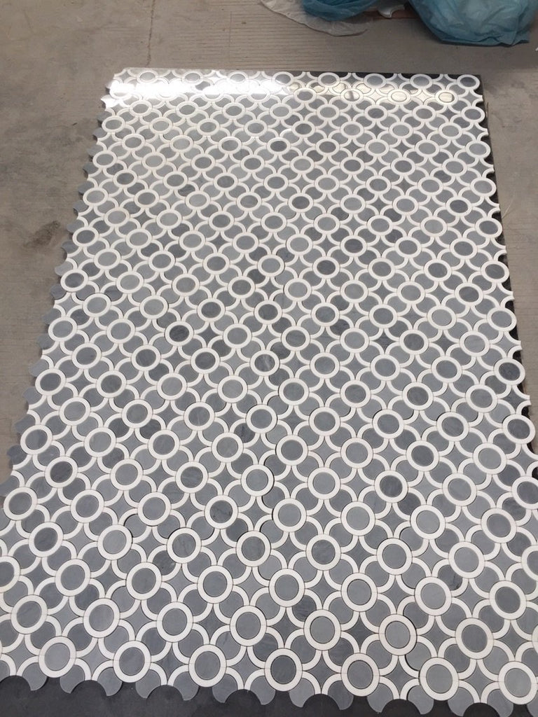 Prima Grey and White Thassos Marble Waterjet Mosaic Tile in Circles and Stars - TileBuys